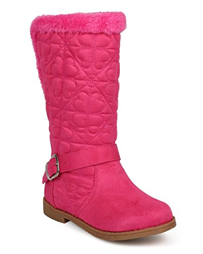 Little Angel Girl's Quilted hearts Fur Lined Winter Riding Boots, Pink, 4 (Box Heart Quilted)