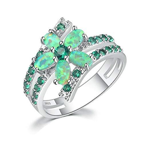CiNily Silver Green Fire Opal Emerald Women Jewelry Gemstone Ring Size 5-12 (7)