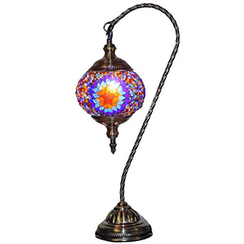 Silver Fever Handcrafted Mosaic Turkish Lamp -Moroccan Glass - Table Desk Bedside Light- Bronze Base (Red Yellow Starburst Latter) - Yellow Handcrafted Lamp