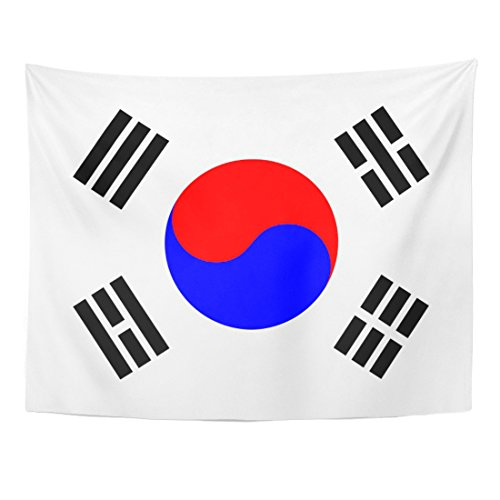 Emvency Tapestry Blue Korea Korean Flag Red South National Home Decor Wall Hanging for Living Room Bedroom Dorm 60x80 inches - Korean Wall Hanging