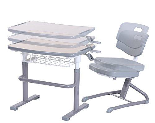 bintiva 6298 Adjustable Chair Set Ergonomic Classroom Desk, Children, Gray