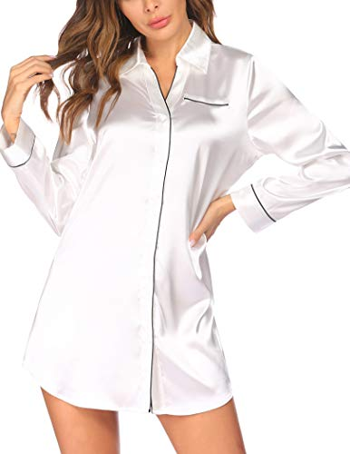 Ekouaer Women's Satin Nightgowns Silk Sleepshirt Button Down Sleep Dress Long Sleeve & 3/4 Sleeve Sleepwear S-XXL