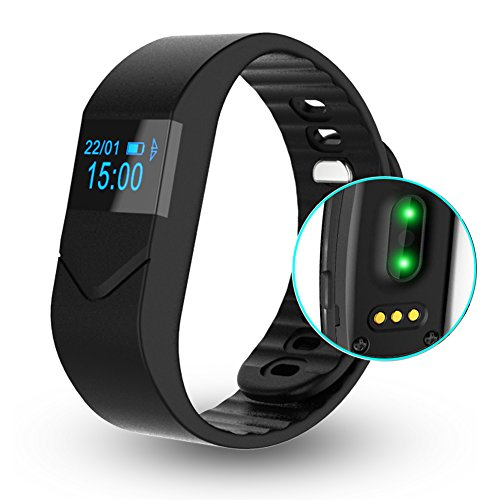 EIISON Fitness Tracker with Heart Rate monitor E5S Activity Watch Step Walking Sleep Counter Wireless Wristband Pedometer Exercise Tracking Sweatproof Sports Bracelet for Android and iOS (Black)