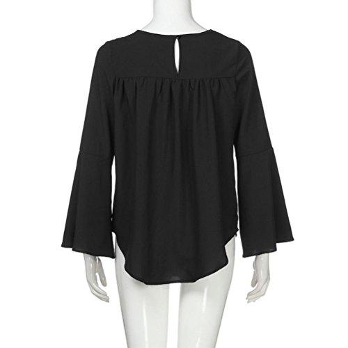 Lose Tops Sleeve Schwarz Langarm Bluse Womens Rundhals Casual Frauen Voberry Bell Shirt Spitzenbluse SE1qP0