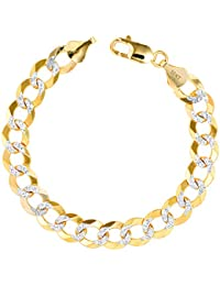 "Men's 10k Yellow Gold Solid 10mm Pave Diamond Cut Cuban Curb Chain Bracelet, 8""- 9"""