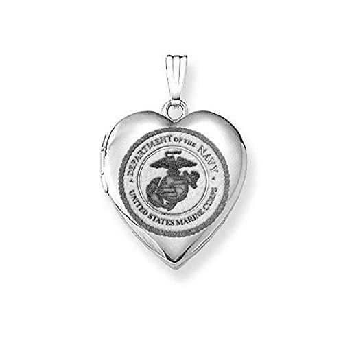 (PicturesOnGold.com Sterling Silver Marine Corps Heart Locket 3/4 Inch X 3/4 Inch WITH ENGRAVING)