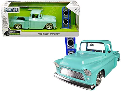 1955 Chevrolet Stepside Pickup Truck Light Turquoise with Extra Wheels Just Trucks Series 1/24 Diecast Model Car by Jada 30197 (Danbury Mint Diecast Cars)