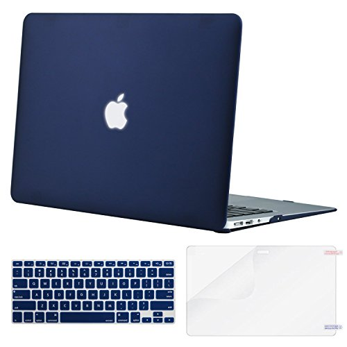 MOSISO Plastic Hard Shell Case & Keyboard Cover & Screen Protector Compatible MacBook Air 11 Inch (Models: A1370 & A1465), Navy Blue