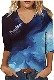 Summer Tops fo Women Casual 3/4 Sleeve Blouses Loose V Neck T Shirts Fashion Print Tunic Tops Plus Size
