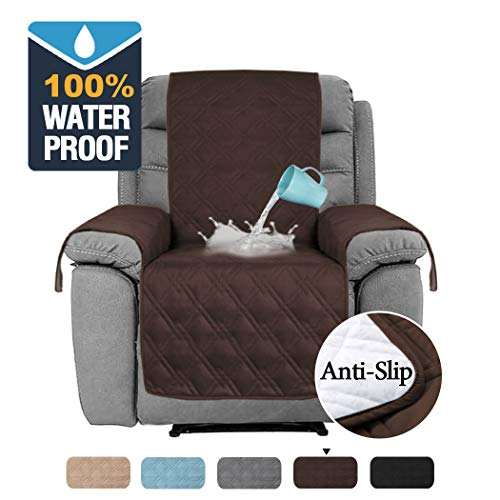 H.VERSAILTEX 100% Waterproof Furniture Protectors for Recliners Sofa Cover for Leather Sofa, Non-Slip Protector for Recliner Chair, Recliner Cover Protect from Pets Kids (Recliner Medium: Brown)