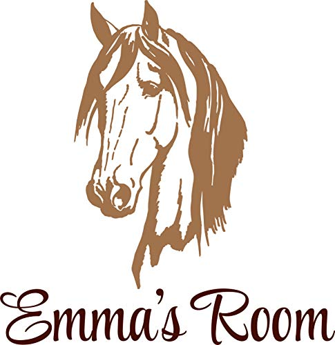 Personalized Name Vinyl Decal Sticker Custom Initial Wall Art Personalization Decor Childrens Bedroom Horse Animal Farm Western Mural 12X14 ()