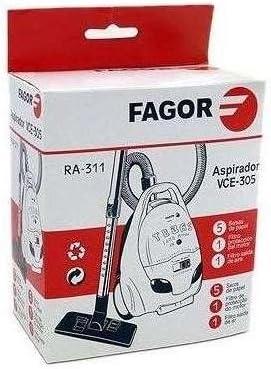 Fagor Set de 5 Bolsas + Filtros Aspirador VCE 305: Amazon.es: Hogar