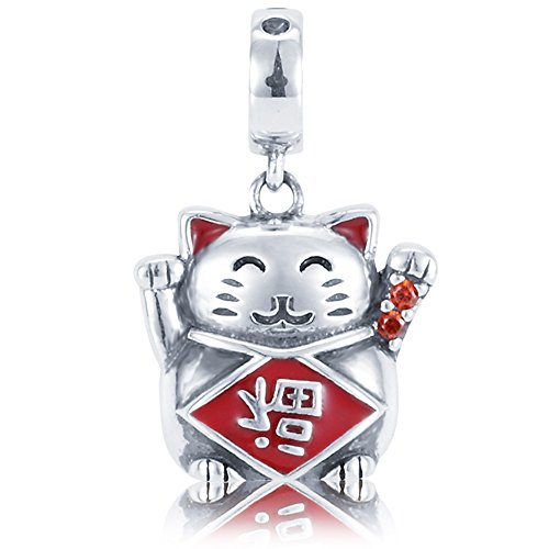 Sumerflos 925 Sterling Silver Lucky Cat Dangle Charms