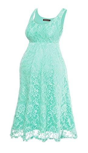 HARHAY Women's Maternity Knee Length Sleeveless Lace Tank Dress 606 XXL Mint