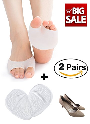 Medical Ball of Foot Cushions Metatarsal Pads Gel Forefoot Shoe Insoles for Foot Pain Relief, Bunion Pads Prevent Calluses and Blisters, 2 Pairs (4 Pieces). Dr.Eagle foot care (®)