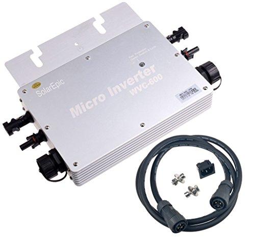 SolarEpic 600W Waterproof Grid Tie Inverter 22-50V PV Input Fit for 24v Solar Panel 110V Output by SolarEpic