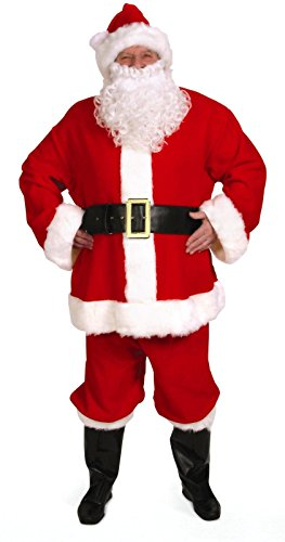 Santa Suit Complete (Santa Claus Suit (Basic) 10pc Complete Adult Costume Size)