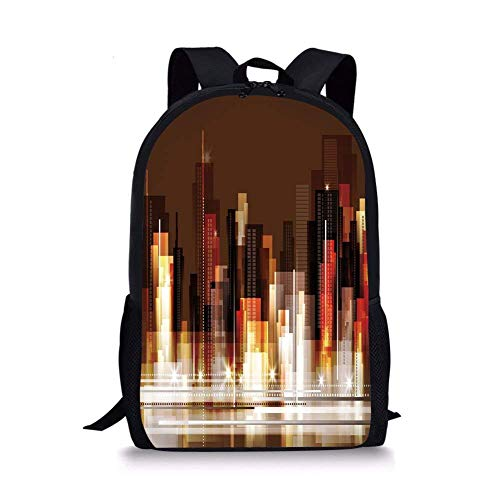 (School Bags City,Abstract Urban Downtown Vibrant Silhouettes Buildings Panorama Artistic Modern,Brown Multicolor for Boys&Girls Mens Sport)