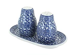 Polish Pottery Olympia Salt & Pepper Shakers with Tray