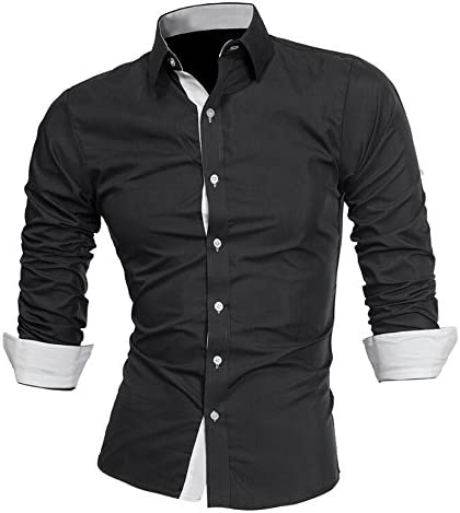 Smart Casual Formal Solid Plain Colour Mens Slim Fit Covered Button Shirt New