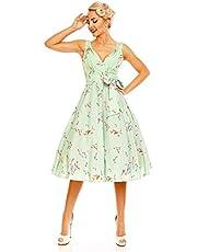 Looking Glam Ladies 1950's Pin Up Swing Dress in Bird Print