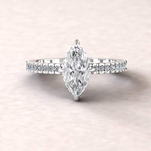 Forever One Moissanite Engagement Ring- 10x5mm Marquise Solitaire