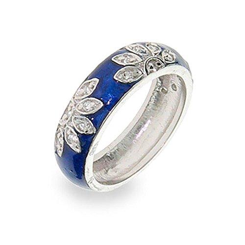 Sterling Silver Blue Enamel CZ Daisy Ring