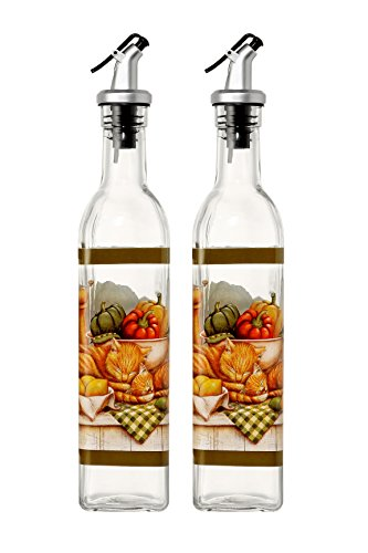 Oil and Vinegar Dispenser Salad Dressing Cruet Glass Bottles - With Lever Release Pourer - 2-Pack -17 oz, 12-Inch Grape Salad Set