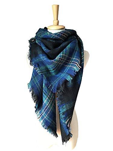 WINCAN Soft Warm Tartan Plaid Scarf Shawl Cape Blanket Scarves Fashion Wrap (Black-Blue-2)