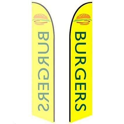 8ft Feather Banner Burgers - Style 3 Double-Sided, Poles and Spike Base Included