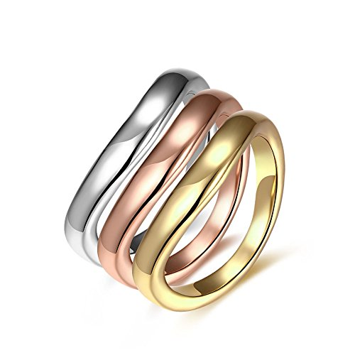 JAJAFOOK Women's Stackable Band Ring Set Tri-Color Triple Design, Stainless Steel Elegant Jewelry