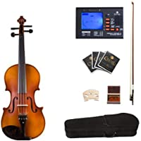 Cecilio CVA-500 Ebony Fitted Flamed Solid Wood Viola with Tuner, Case, Bow, Rosin, Bridge and Strings, Size 14-Inch