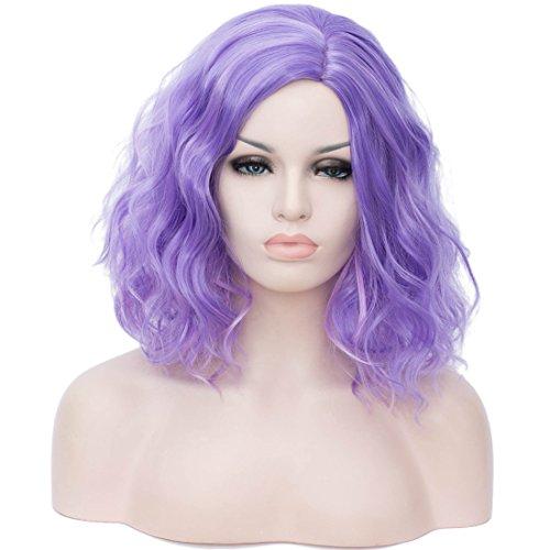 Cying Lin Short Bob Wavy Curly Wig Mixed Purple Wig For Women Cosplay Halloween Wigs Heat Resistant Bob Party Wig (Mixed Purple)