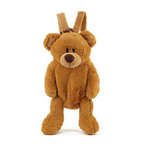 Price comparison product image Cute Fuzz Plush Animal Teddy Bear / Panda / Dog / Kangaroo / Backpack Bags Toys for Toddles (Brown Bear)