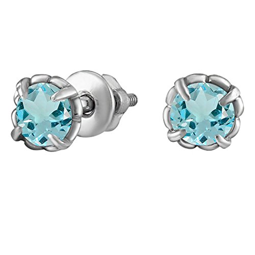 Rhodium-Plated 925 Sterling Silver Earrings with Blue Round Zirconia Gemstones E042 (Silver Earrings Setting Stone Plated)