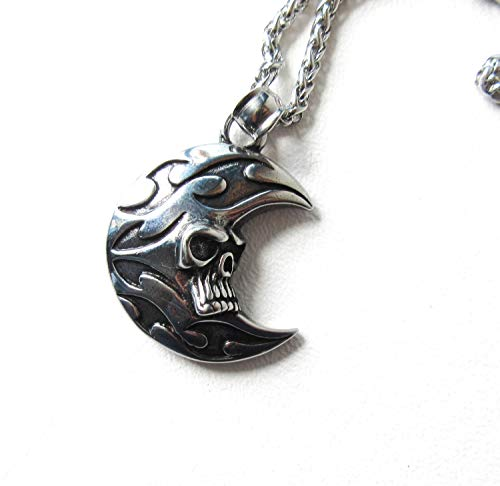 Flaming Skull Moon Necklace Stainless Steel Father's Day Gift for Men - Flaming Skull Necklace