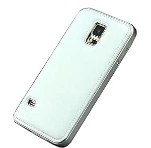 Fineday Aluminum Metal Bumper with Genuine Lather Cover Case for Samsung Galaxy S5 I9600 Leather Case (Silver)
