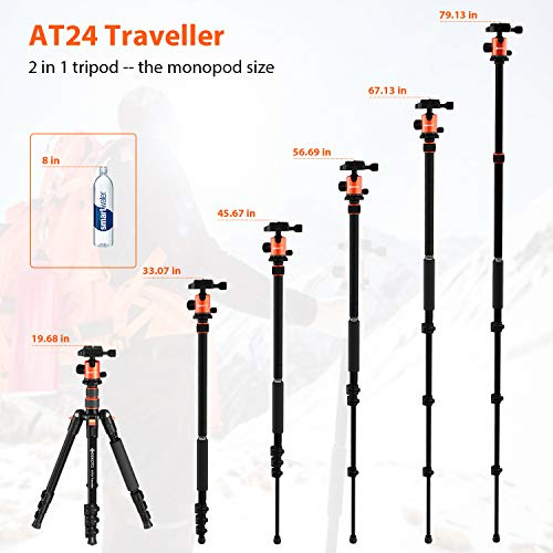 """GEEKOTO 58"""" Ultra Compact Lightweight Aluminum Tripod with 360° Panorama Ball Head for DSLR, Monopod, Tripod for OSMO, Ideal for Vlog, Travel and Work"""