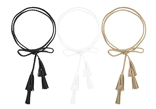 Women Girls Multi Colors Waist Belt/Rope/Chain with Double Tassels (63inch, Black White Apricot)]()