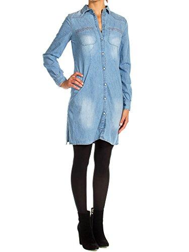 Super für blusenkleidung Steinwäsche fit slim Jeans Carrera 498 Waschung frau Denim 590 Hellblaue langarm kleid HfnIxOq