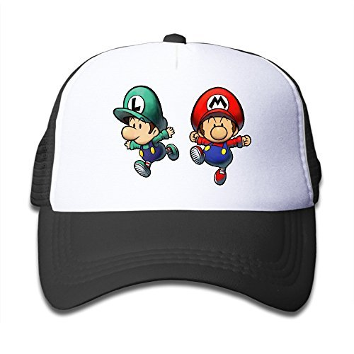 Mario Hats For Sale (Hoicp Kid's Super Mario Bros Adjustable Mesh Trunk Baseball Hat/Cap Black)