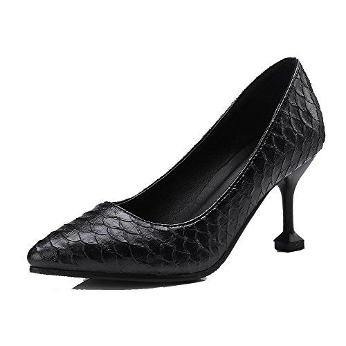 Pumput Pu Naisten kengät on Musta toe Todennut Korkokenkiä Kiinteä Pull 38 Amoonyfashion nZxd484
