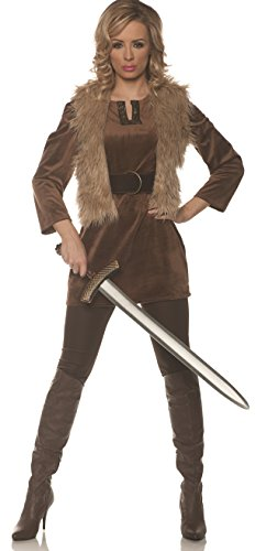 Underwraps Women's Viking Princess Costume-Lady Crusader, Brown Small ()