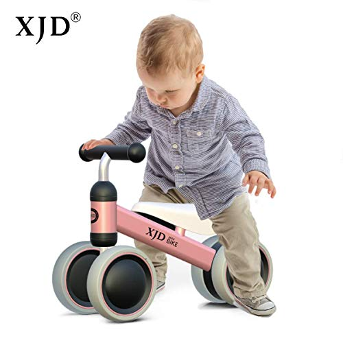 XJD Baby Balance Bikes Bicycle Children Walker Toddler Bike 10-24 Months Toys for 1 Year Old No Pedal Infant 4 Wheels First Birthday Gift Bike (Pink)