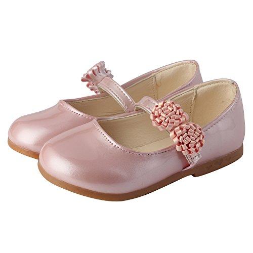 Instep Bar (PETIT BARI Girls' Shoes Dress Princess Floral Strap Mary Jane Shoes Pink 30 M EU / 12-12.5 M US Little Kid)
