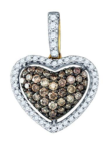 Aienid 10Kt Yellow Gold 0.48ct Cognac Diamond Heart Pendant Necklace For Ladies