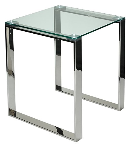 Cortesi Home Remi Contemporary Square Glass End Table with Chrome - Square Table Chrome