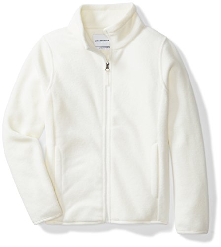 Amazon Essentials Girls' Full-Zip Polar Fleece Jacket, Ivory Snow, (Kids Polar Fleece)