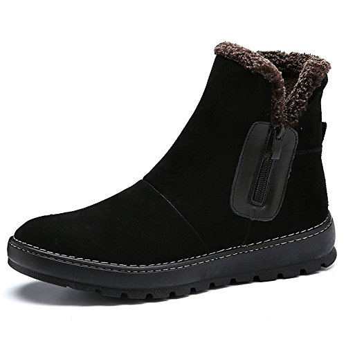 The winter snow boots high boots and boots Martin England cashmere warm shoes,43 black B by ZRLsly