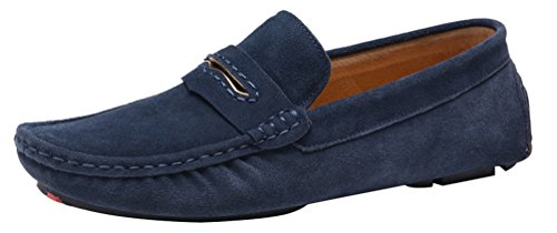Salabobo QYY-0057 New Mens Stylish Casual Loafers Moccasins Leather Slip-on Driving Shoes Blue MlZwnBHbKo